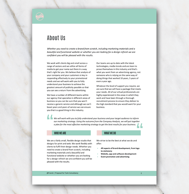 New business project proposal template in word for free green design second page about us from project proposal template accmission Image collections