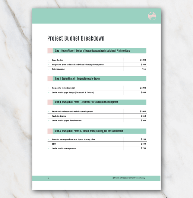 The Project Budget Breakdown can be found on page 9