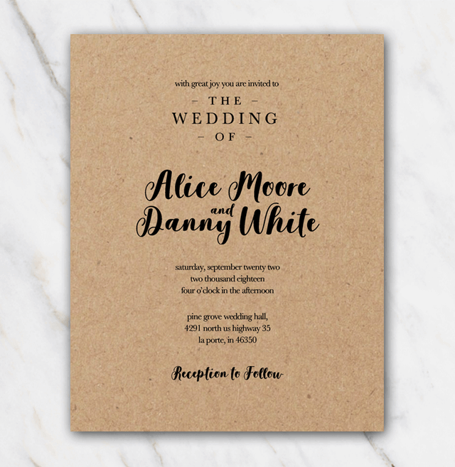 Kraftpaper wedding Invitation in Word DIY 100 FREE