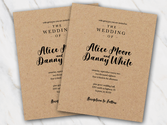 Wedding invitation printed on brown kraftpaper with elegant black font