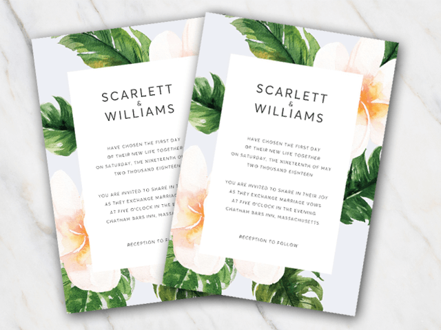 Wedding invitation template in Word with a border of flowers