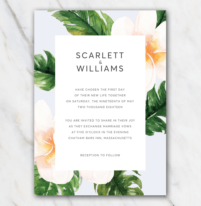 Classic flowers wedding invitation