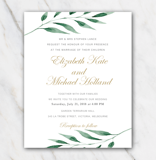 Wedding Invitation Template For Free With An Olive Branch