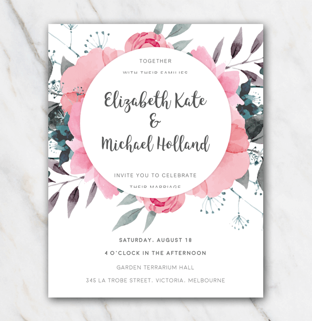 Pink Flowers Wedding Invitation Template In Word For Free