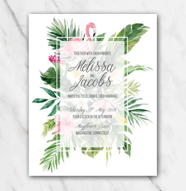 wedding invitation tropical flamingo std