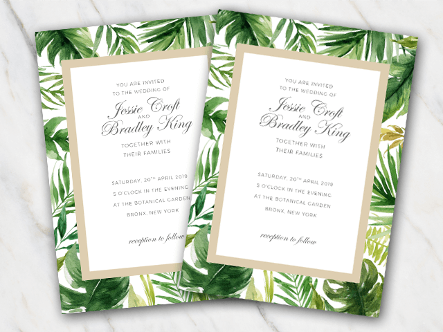 Tropical leaves with a gold rim wedding invitation template
