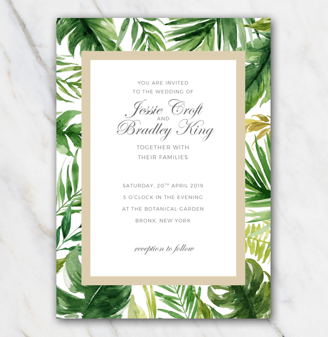 Tropical palm tree leaves wedding invitation