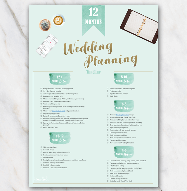 photograph about Printable Wedding Planning identified as 1 12 months Printable Marriage ceremony Planner List Eco-friendly Absolutely free
