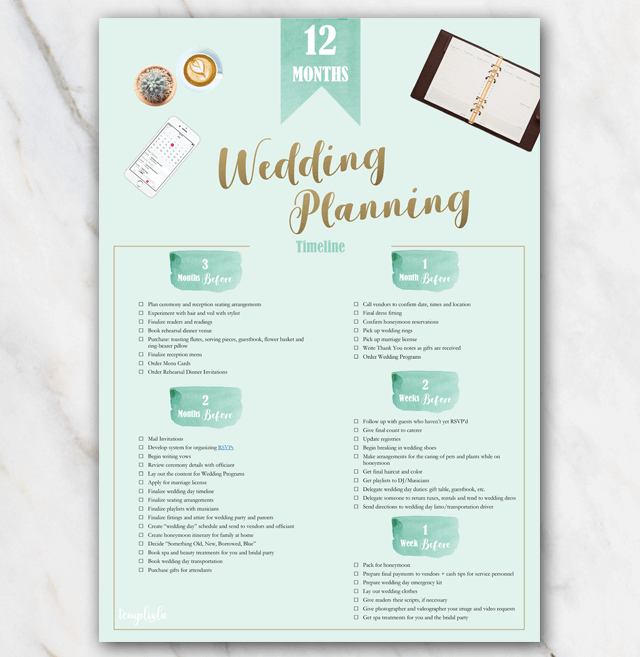 Printable wedding planner 12 months page 2
