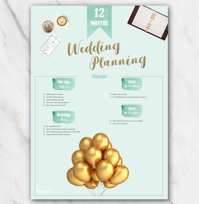 Printable wedding planner 12 months page 3