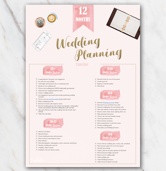 1 Year Printable Wedding Planner Checklist Pink Free