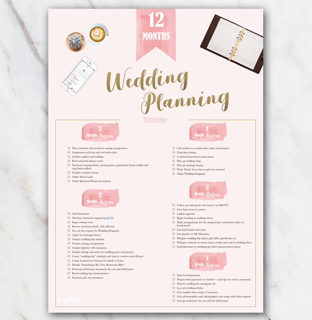 1 year in advance printable wedding planning checklist in PDF page 2
