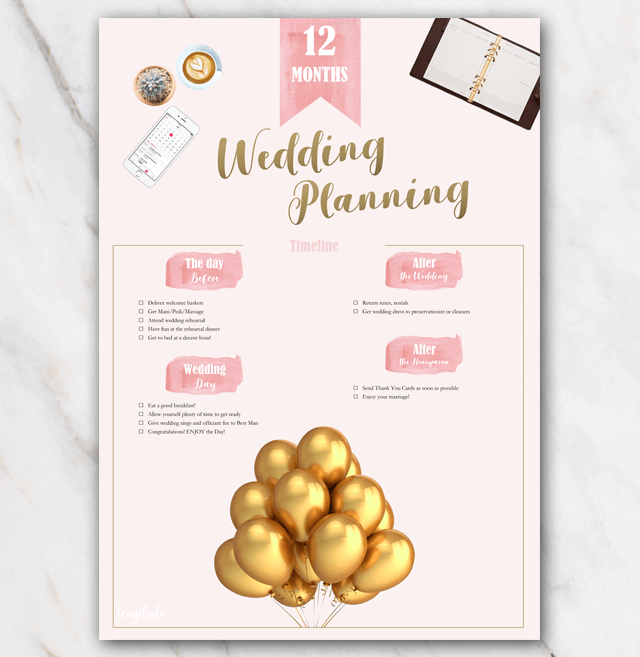 1 year in advance printable wedding planning checklist in PDF page 3