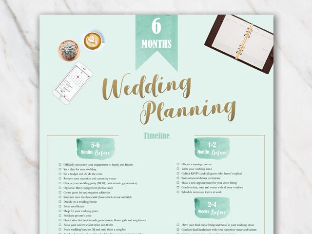 Wedding planning checklist 6 months prior to wedding