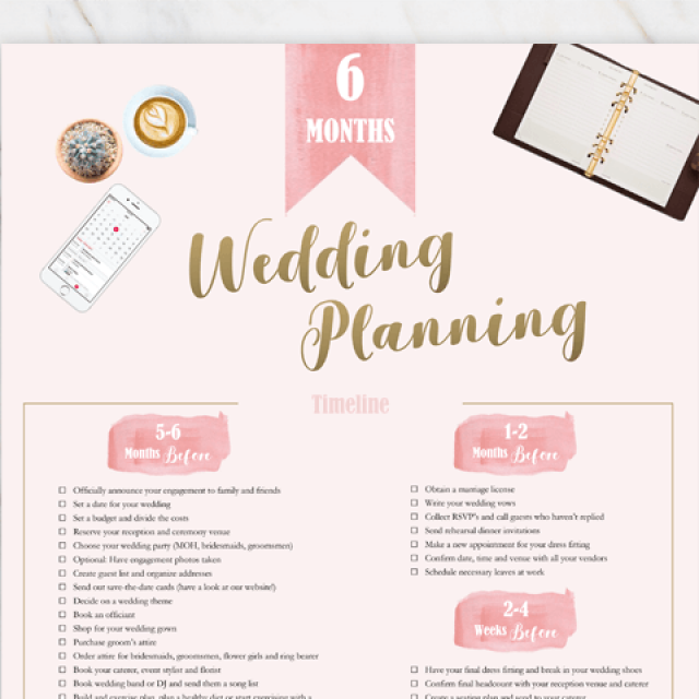 Wedding planning checklist in pink