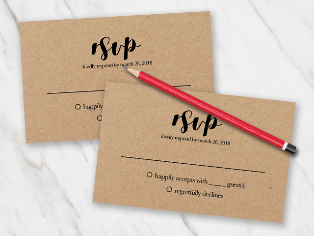 Wedding rsvp template with black font printed on brown kraftpaper