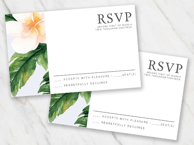 Wedding rsvp template with classic flowers on the left side