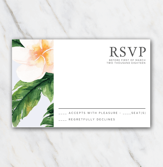 Classic Flowers wedding rsvp template