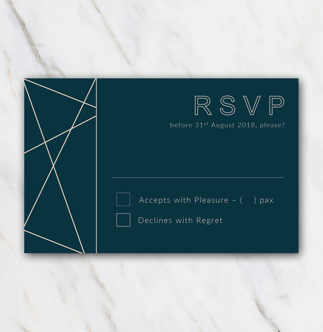 Geometric winter wedding rsvp template