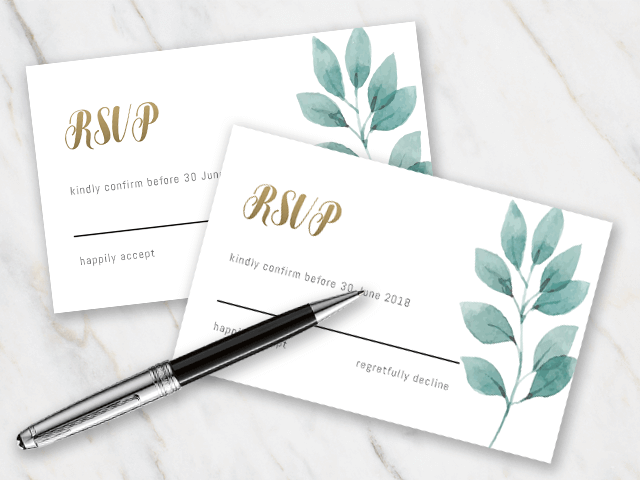 Wedding rsvp template with green leaves and golden font