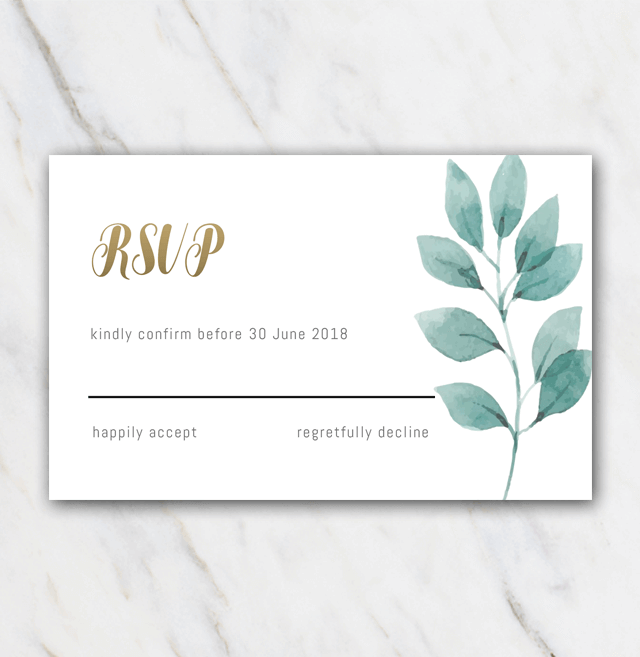 Green leaves wedding rsvp template