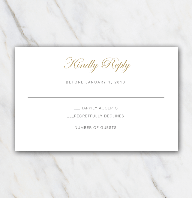 Olive branch gold wedding rsvp template