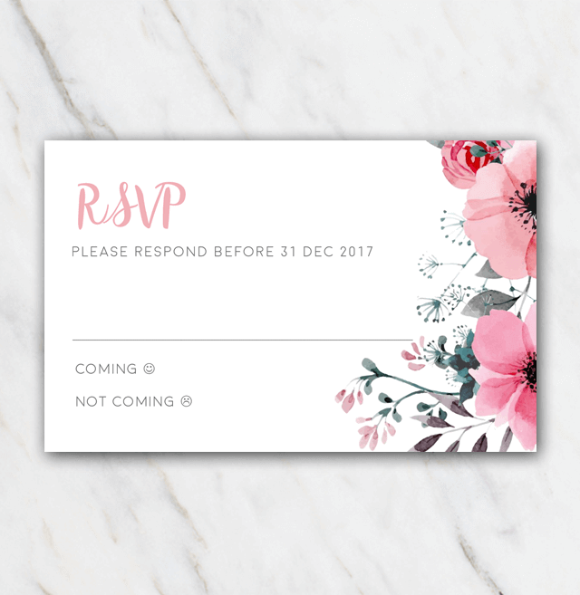 Pink floral wedding rsvp template