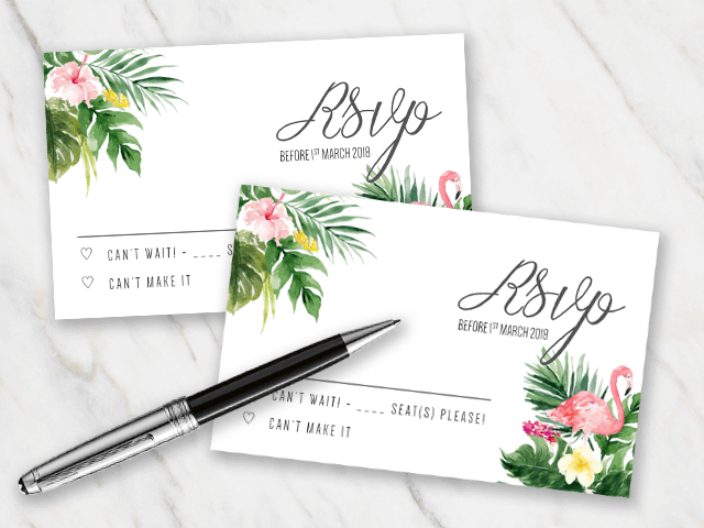 Wedding RSVP template with a tropical flamingo