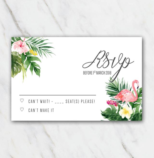 Tropical flamingo wedding rsvp template