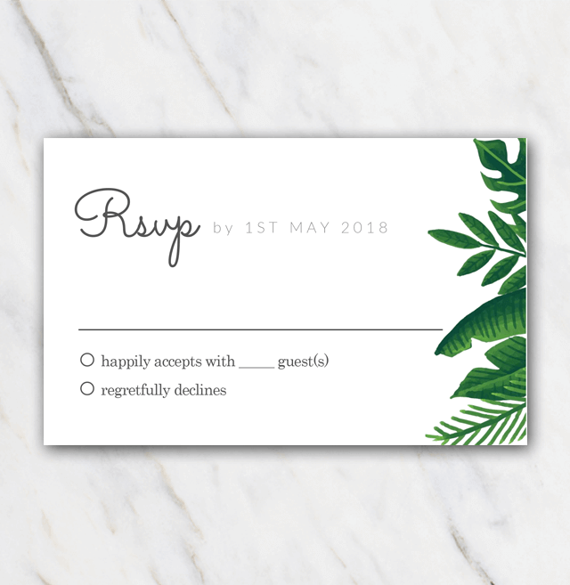 Tropical green wedding rsvp template