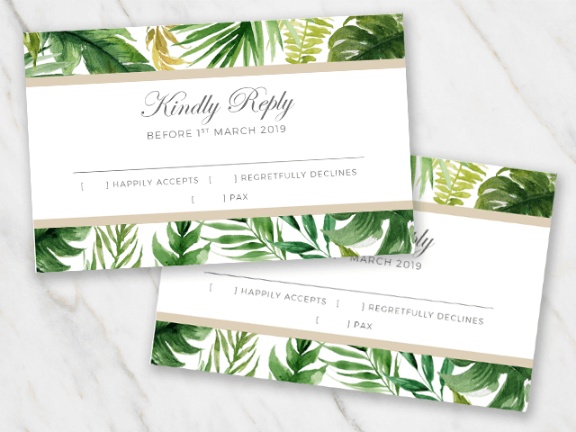 Wedding rsvp template with tropical palm tree leaves