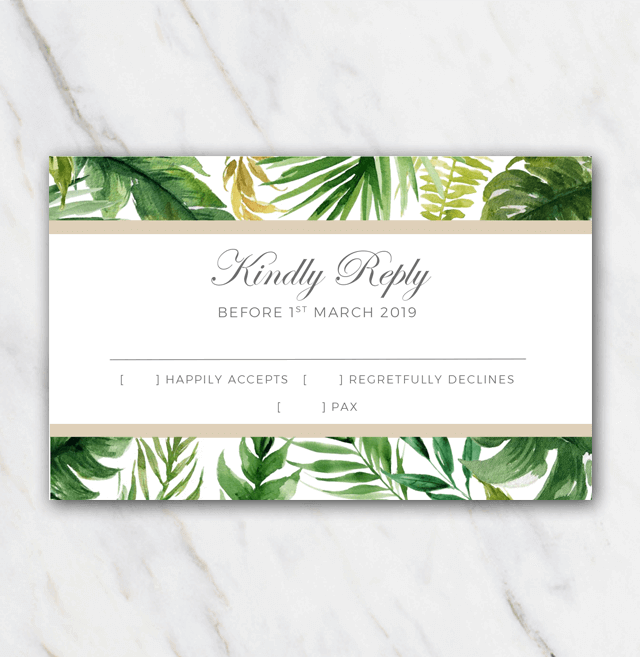 palm card template word - free wedding rsvp template palm tree leaves