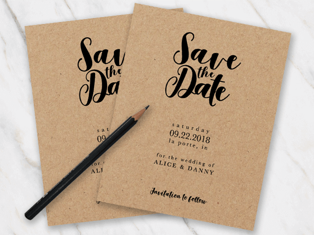 Black and white save the date for a wedding
