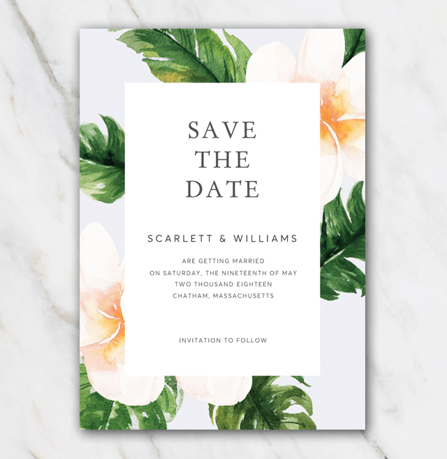 Classic flowers wedding save-the-date template