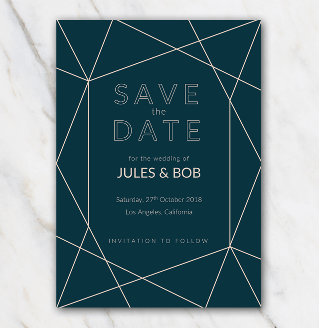 Geometric winter wedding save-the-date template