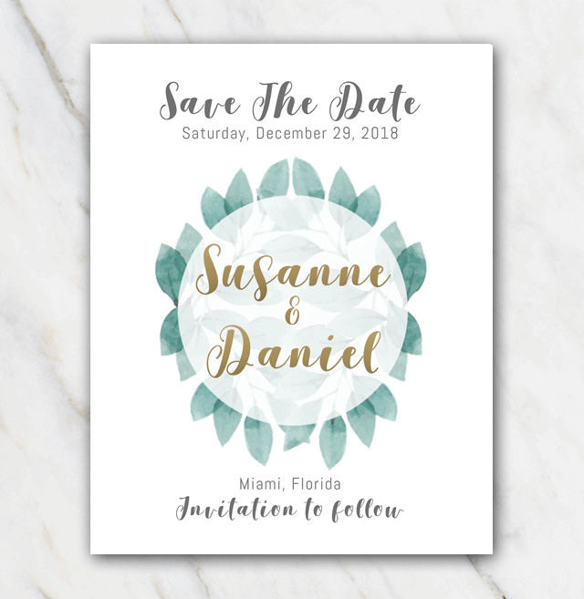 Green leaves wedding save-the-date template