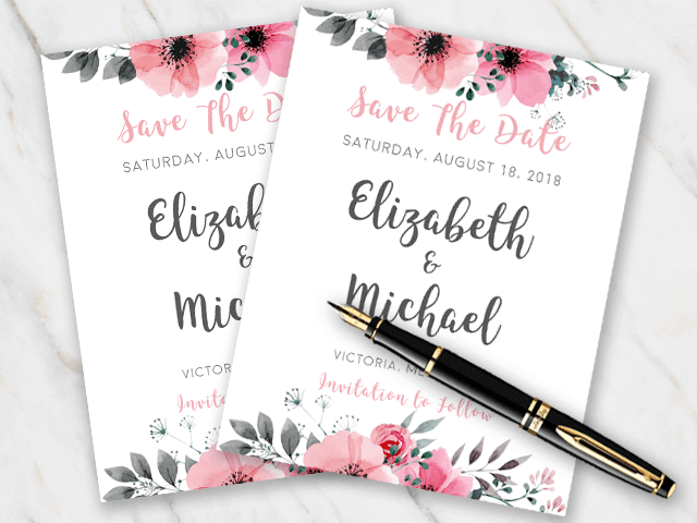Example of wedding save-the-date template with pink flowers at the top and bottom