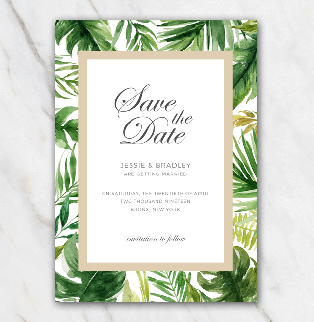 Tropical palmtree leaves wedding save-the-date template with golden frame