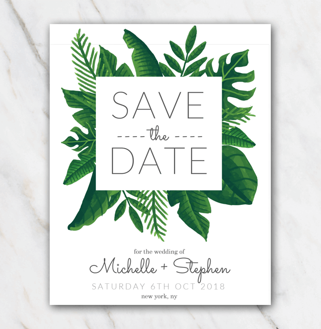 Tropical green wedding save-the-date template
