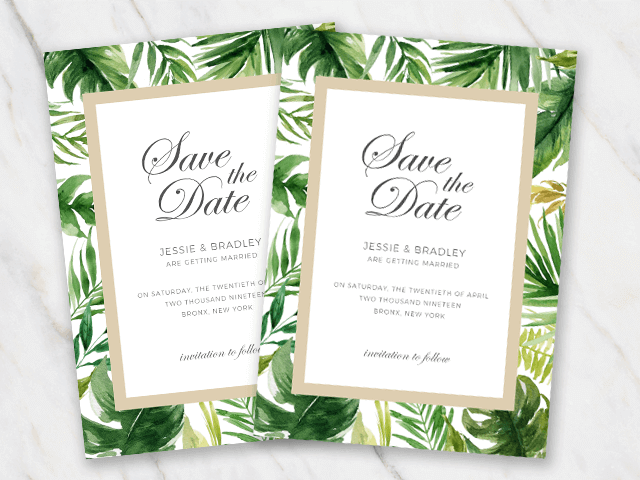 Wedding save the date templates in word for free tropical palm tree leaves wedding save the date template pronofoot35fo Images