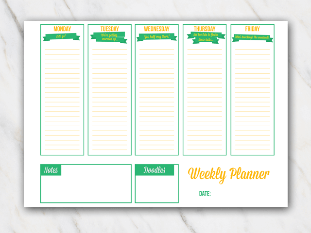 Irish colored printable weekly planner