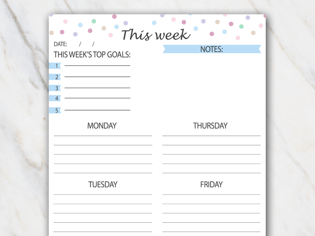 Printable weekly planner with colored confetti and light blue colors