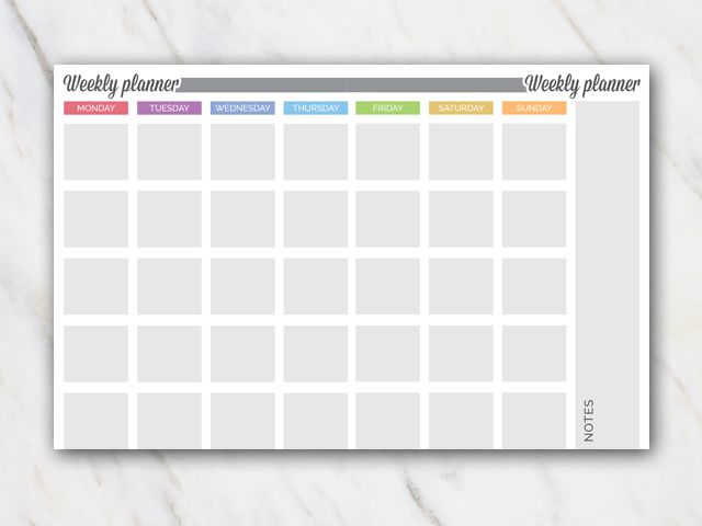 Printable weekly planner in landscape format with mostly grey colors