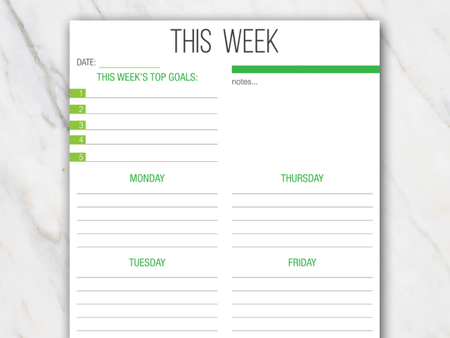 printable weekly planner in portrait format and with green colors