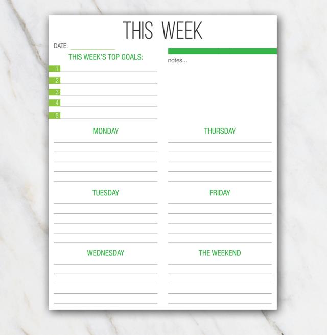 week planning template