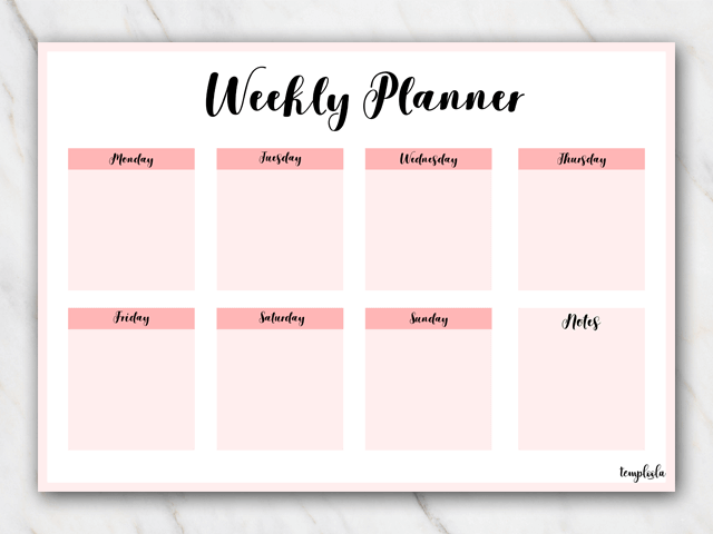 printable weekly planner landscape in pink