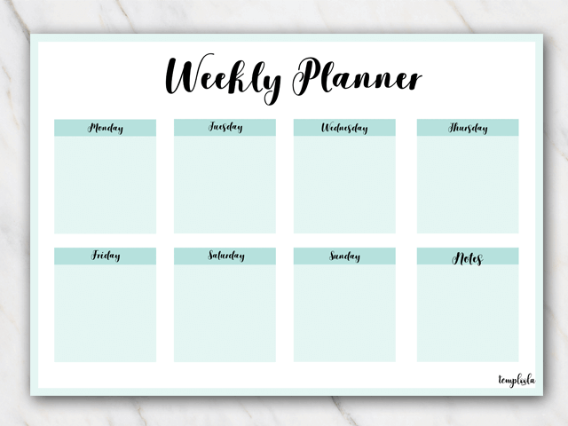 printable weekly planner in landscape format in sea colors