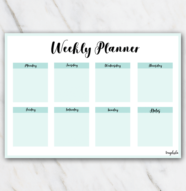 printable landscape weekly planner in sea colors